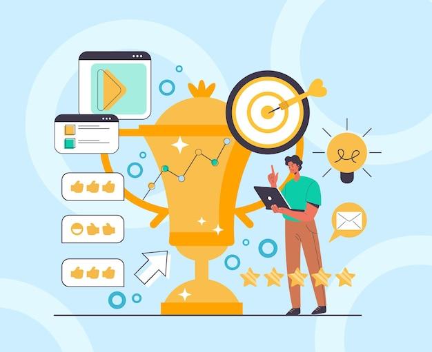 Conceito de revisões de mídia social de negócios bem-sucedidos de gestão pr