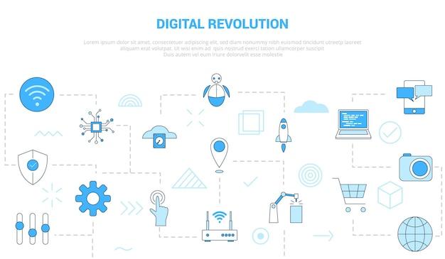 Conceito de revolução digital com banner de modelo de conjunto de ícones com estilo moderno de cor azul