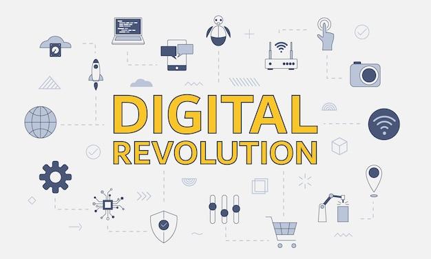 Conceito de revolução digital com conjunto de ícones com uma palavra grande ou texto no centro