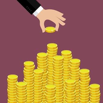 Conceito de riqueza. mão coloque moedas na escada de dinheiro.
