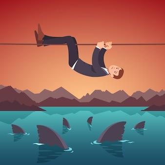 Conceito de riscos e dificuldades de negócios