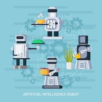 Conceito de robô de inteligência artificial