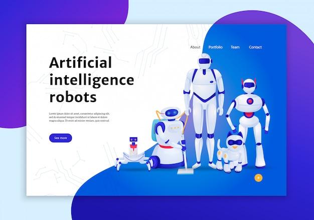 Conceito de robôs de inteligência artificial da ilustração de banner da web