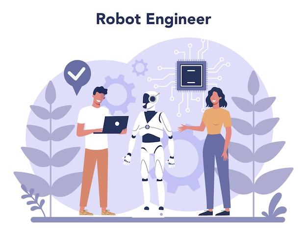 Conceito de robótica. engenharia e programação de robôs. ideia de inteligência artificial e tecnologia futurista. automação de máquinas.