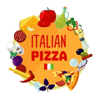 Conceito de rodada de ingredientes de pizza italiana