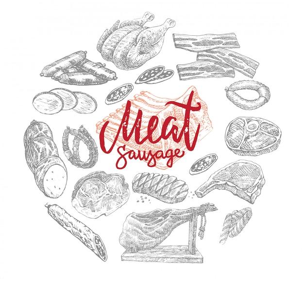 Conceito de rodada de produtos de carne e salsichas