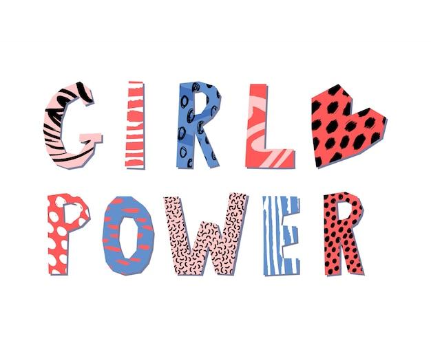 Conceito de rotulação de poder de garota. slogan feminista. imprimir para o cartaz ou design de roupas.
