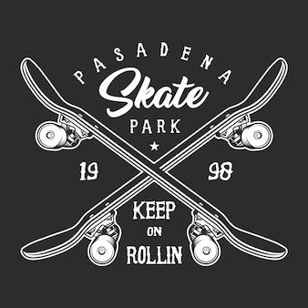Conceito de rótulo monocromático de skate vintage