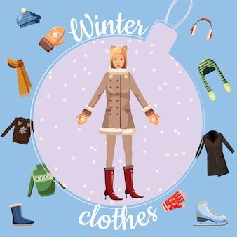 Conceito de roupas de inverno, estilo cartoon