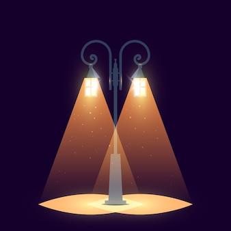 Conceito de rua. lanterna de jardim iluminada em layout escuro,