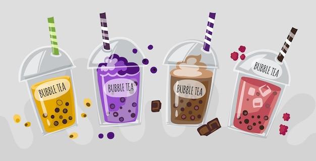 Conceito de sabores de chá de bolhas desenhadas à mão