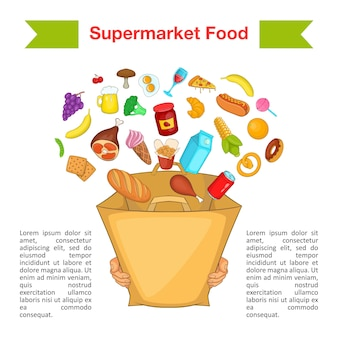 Conceito de saco de supermercado de comida, estilo cartoon