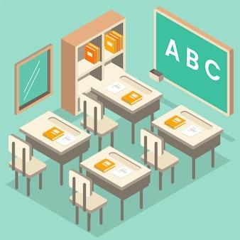 Conceito de sala de aula isométrica