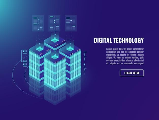 Conceito de sala de servidores, armazenamento em nuvem, tecnologia blockchain
