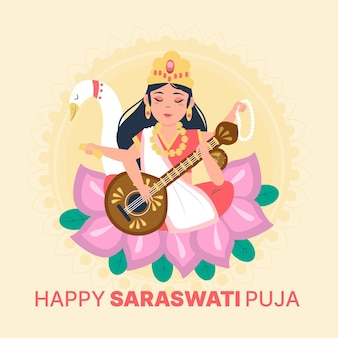 Conceito de saraswati desenhado à mão
