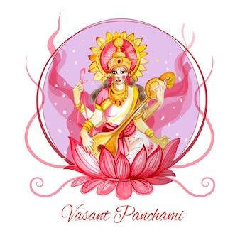 Conceito de saraswati em aquarela
