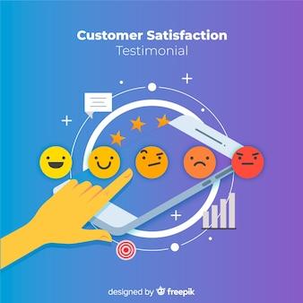 Conceito de satisfação do cliente plana
