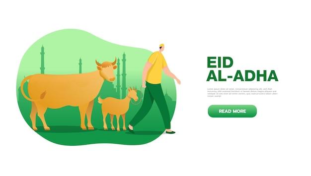 Conceito de saudação eid al adha mubarak com caráter de pessoas trazem animal de sacrifício para modelo de página de destino da web, banner, apresentação, mídia social e impressa
