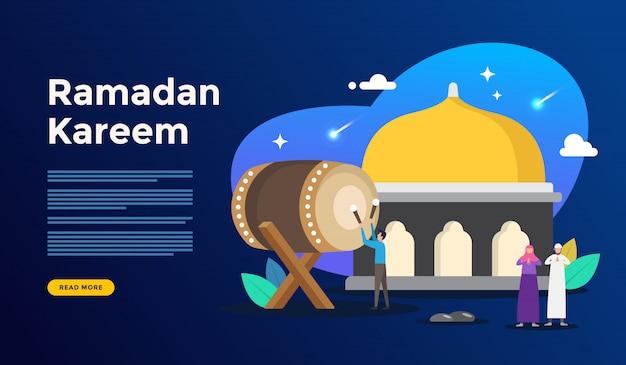 Conceito de saudação feliz ramadan kareem com caráter de pessoas para o modelo de página de aterrissagem da web