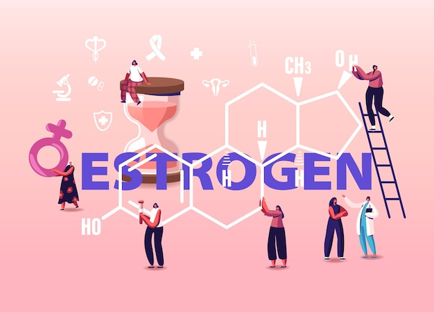 Conceito de saúde de hormônios. pacientes de personagens femininos minúsculos e médico à frente da fórmula de estrogênio enorme.