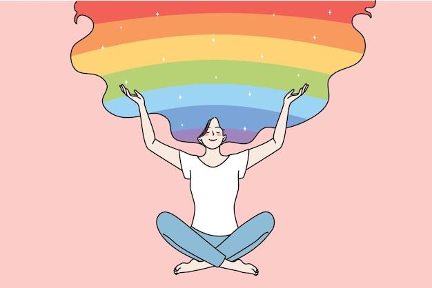 Conceito de saúde e positivo de corpo. mulher jovem e sorridente feliz sentada em posição de lótus e abrindo os braços para o arco-íris e o céu, criando uma ilustração vetorial de boas vibrações