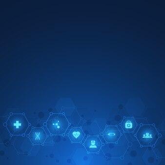 Conceito de saúde e tecnologia com ícones e símbolos planos