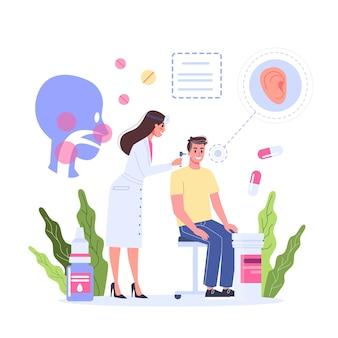 Conceito de saúde, ideia de médico se preocupando com a saúde do paciente. paciente do sexo masculino em consulta com otorrinolaringologista. tratamento médico e recuperação. ilustração
