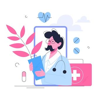 Conceito de saúde, ideia de médico se preocupando com a saúde do paciente. tratamento médico e recuperação. ilustração