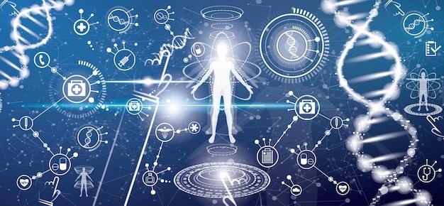 Conceito de saúde médica futurista com corpo humano e estrutura da molécula de dna. ilustração vetorial. ícones médicos. elementos da interface do hud.