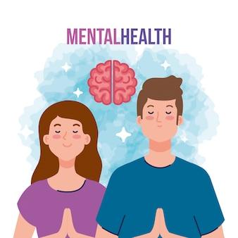 Conceito de saúde mental, casal com design ilustração de mente saudável
