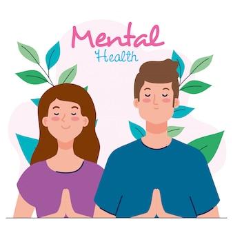 Conceito de saúde mental, casal com mente saudável e deixa o design ilustração de decoração