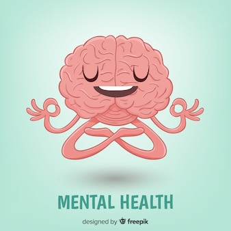 Conceito de saúde mental desenhada mão divertida