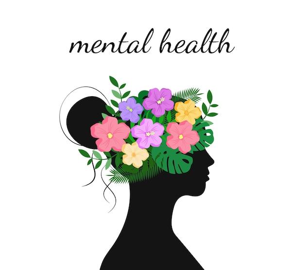Conceito de saúde mental. flores e folhas na cabeça da mulher. dia mundial da saúde mental. ilustração vetorial.