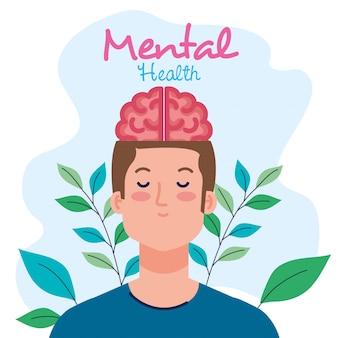 Conceito de saúde mental, homem com design de ilustração de mente saudável