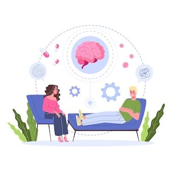 Conceito de saúde mental. médico tratar a mentalidade de pessoa. apoio psicológico. problema com a mente. ilustração
