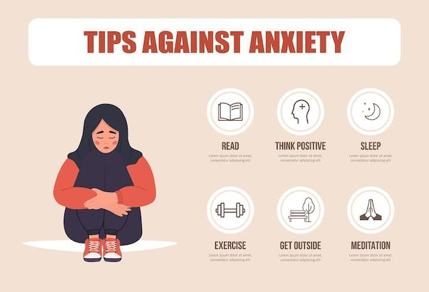 Conceito de saúde mental. mulher árabe infeliz sentada no chão e abraçando os joelhos.