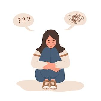 Conceito de saúde mental. o adolescente deprimido precisa de ajuda psicológica. transtorno de humor.