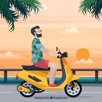 Conceito de scooter elétrico com hipster