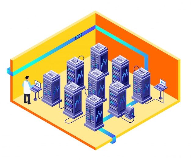 Conceito de seção transversal de centro de armazenamento de dados com especialista em ti homem fornecendo hardware