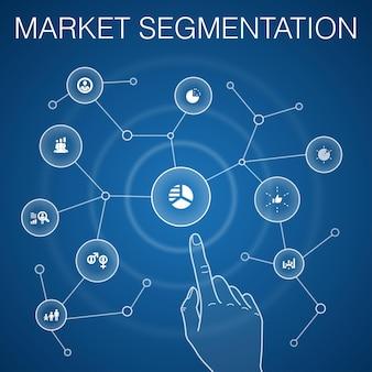 Conceito de segmentação de mercado, fundo azul.demografia, segmento, benchmarking, ícones de faixa etária