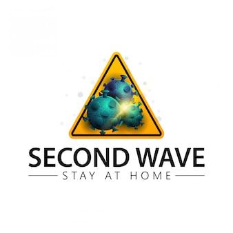 Conceito de segunda onda de coronavírus. sinal de aviso triangular amarelo coronavírus com moléculas de coronavírus isolado no fundo branco, ícone com moléculas de coronavírus