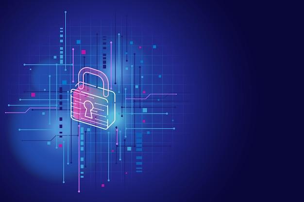 Conceito de segurança cibernética com bloqueio de néon