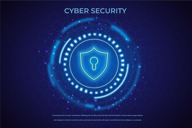 Conceito de segurança cibernética com cadeado de néon