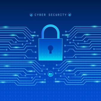 Conceito de segurança cibernética com cadeado