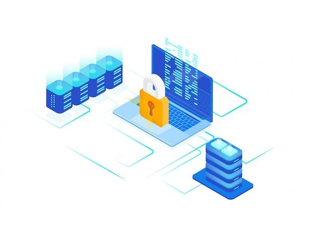 Conceito de segurança cibernética do computador isométrico com proteger o bloqueio de ataques cibernéticos, antivírus. ilustração