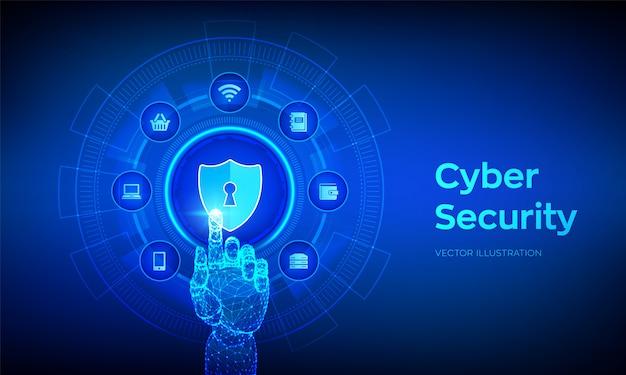 Conceito de segurança cibernética. escudo proteger ícone. mão robótica tocando interface digital.