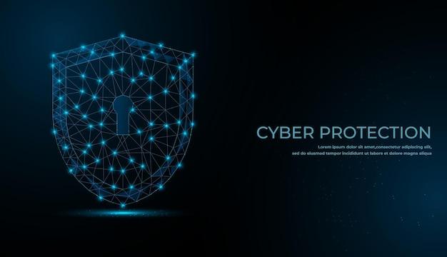 Conceito de segurança cibernética. símbolo de bloqueio de linhas e triângulos