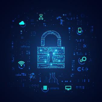 Conceito de segurança cibernética, teclado em padrão eletrônico com elemento de tecnologia digital