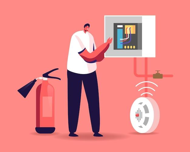 Conceito de segurança contra incêndio, energia e eletricidade