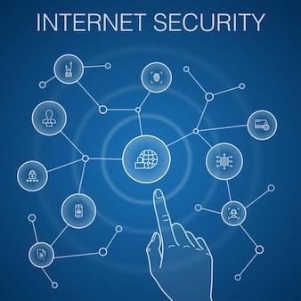 Conceito de segurança da internet, fundo azul. segurança cibernética, leitor de impressão digital, criptografia de dados, ícones de senha